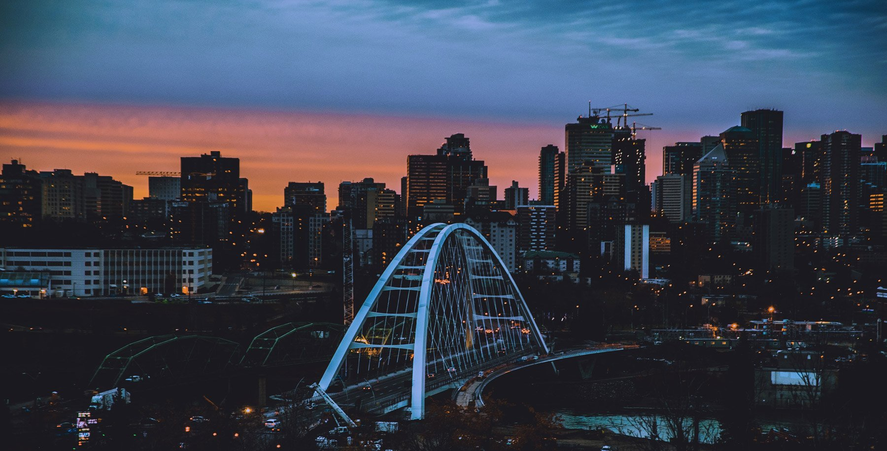 Edmonton, Alberta cityscape of bridge during dusk